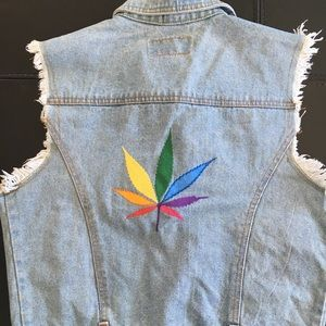 Cannabis leaf LGBTQ vest pride denim vintage S M